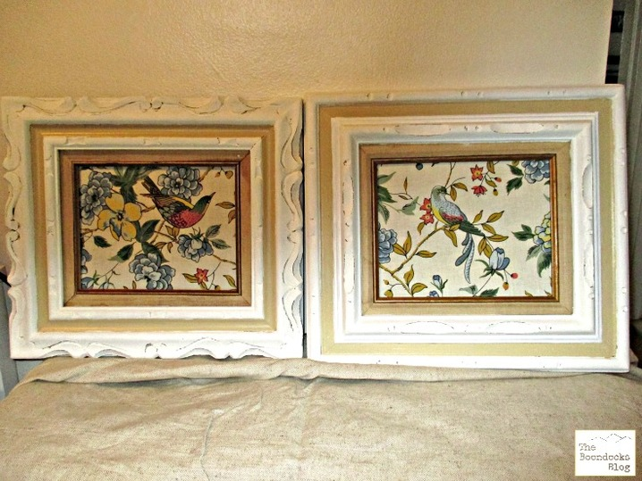 2 picture frames with bird fabric, Hello everyone!  The Boondocks blog