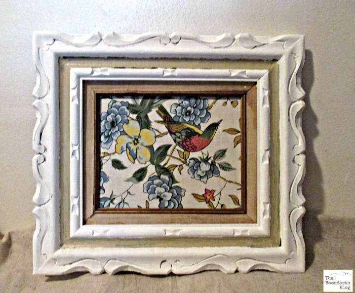 Frame painted white and inside covered with bird fabric, Hello everyone! The Boondocks blog