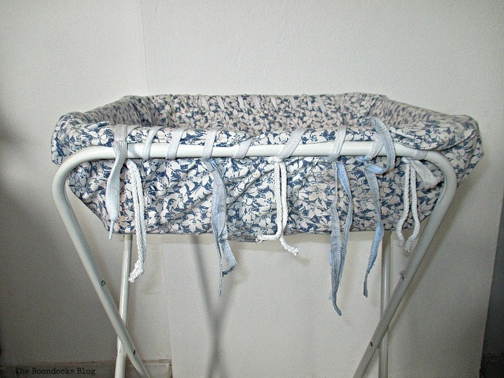 basket covered in fabric and added to hamper legs, Hamper legs going the distance - www.theboondocksblog.com