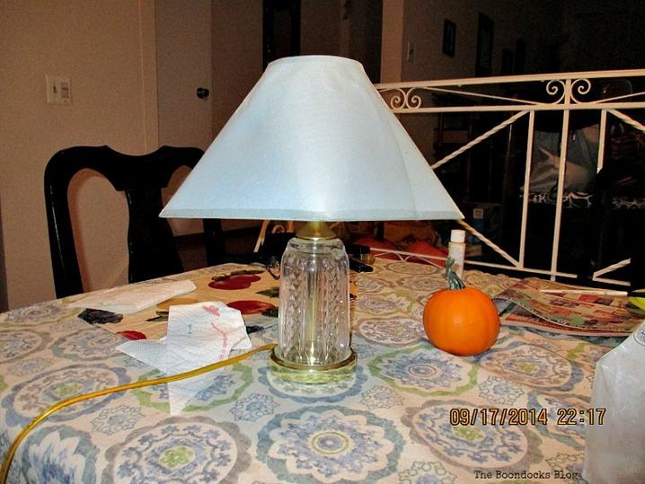 blue lampshade before, A littlebit of paint goes a long way - www.theboondocksblog.com