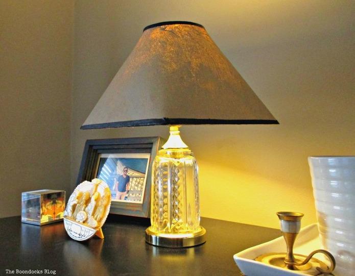 night lampshade, a littlebit of paint goes a long way - www.theboondocksblog.com