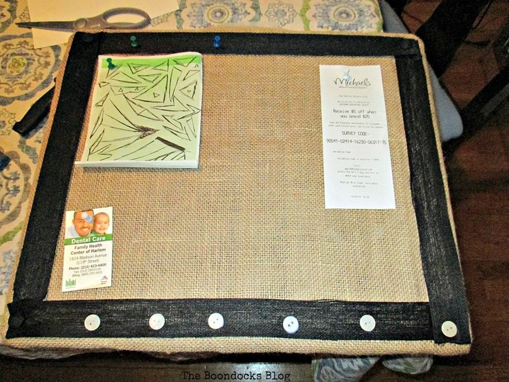 Bulletin Board with burlap and ribbon,        Bulletin Board My Way - www.theboondocksblog.com