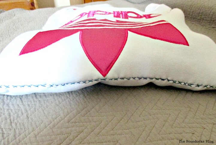stitching for top, A special pillow for a friend - www.theboondocksblog.com