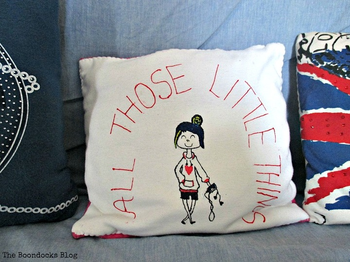 Repurposed T-shirt, A special Pillow for a Friend - www.theboondocksblog.com