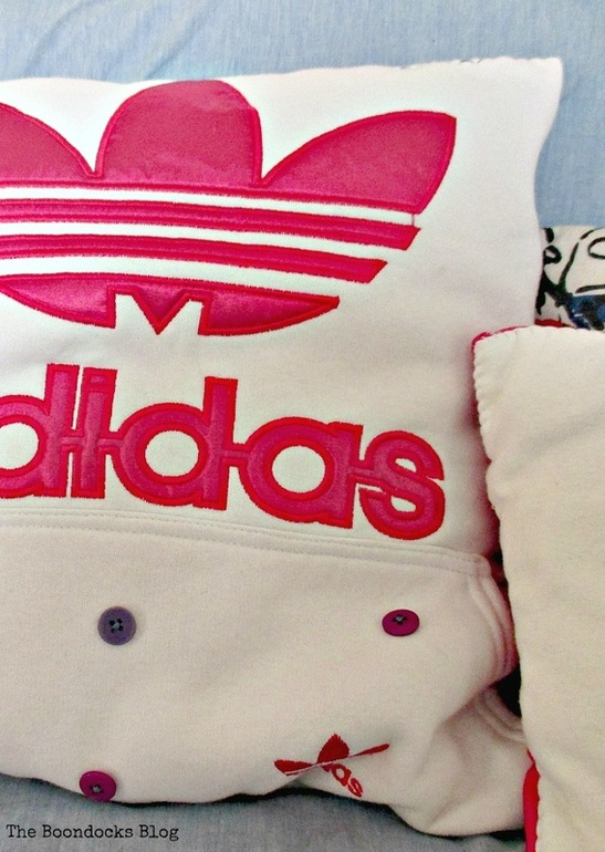 Repurposed sweatshirt into Pillow, A special Pillow for a friend - www.theboondocksblog.com
