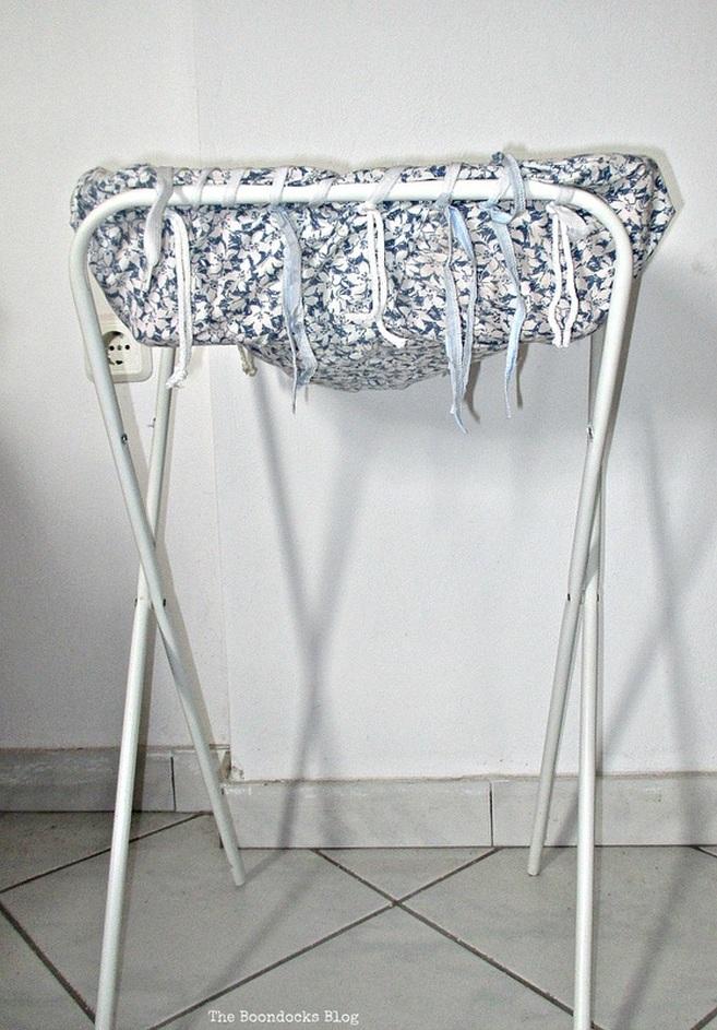 fabric covered basket with hamper legs, hamper legs going the distance - www.theboondocksblog.com