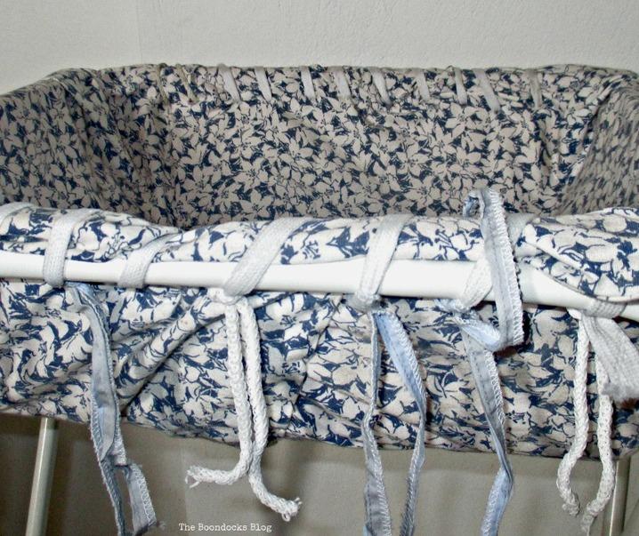 closeup of fabric covered basket, hamper legs going the distance - www.theboondocksblog.com