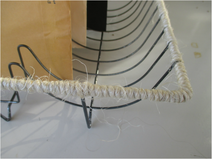 Detail or t wine wrapped dish rack - wrapping up the wire dish rack - the boondocks blog