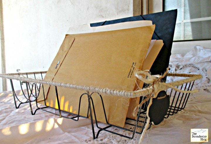 Dish rack wrapped with twine, used as file holder - Wrapping up the dish rack - the boondocks blog