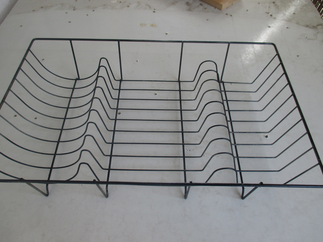 Wire dish rack with black spray paint - wrapping up the wire dish rack - The boondocks blog