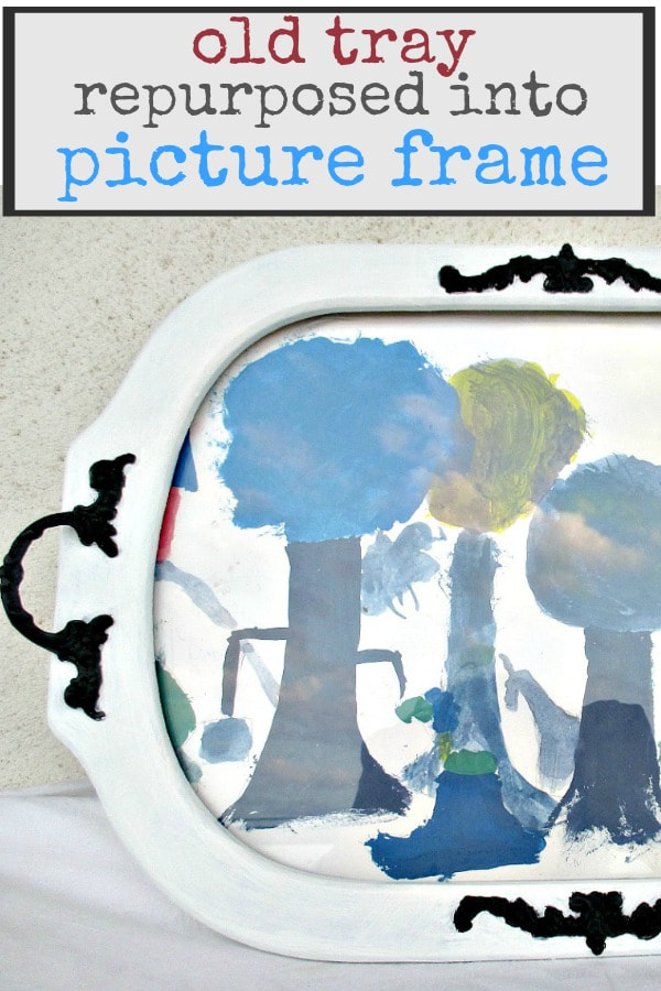 A wooden tray repurposed into a picture frame for childrens art. #repurpose #repurposedtray #woodentray #traymakeover #pictureframe #childrensart #paintproject #DIY #easydiy A Tray Repurposed into a Frame www.theboondocksblog.com