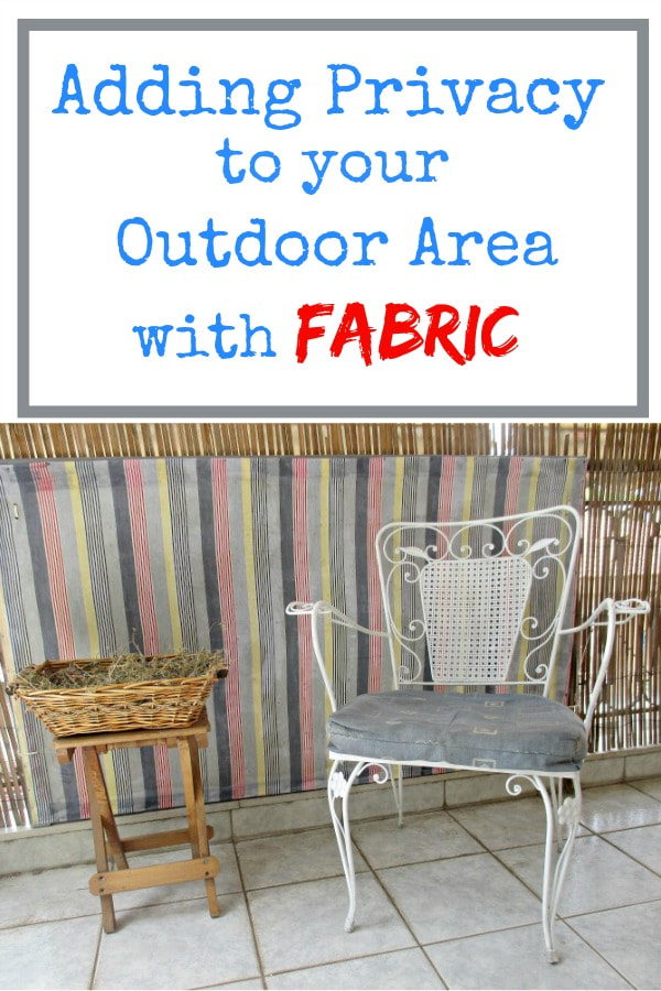 How to add privacy to your outdoor space using an MDF board and fabric for a pretty yet practical look to keep unwanted eyes out of your space. Adding Privacy to your outdoor space with fabric #DIY #DIYproject #outdoorspace #privacyforoutdoor #outdoorprivacy #modpodge #varnish www.theboondocksblog.com