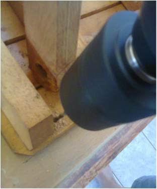 opening hole in stool, Pieces of a table, www.theboondocksblog.com
