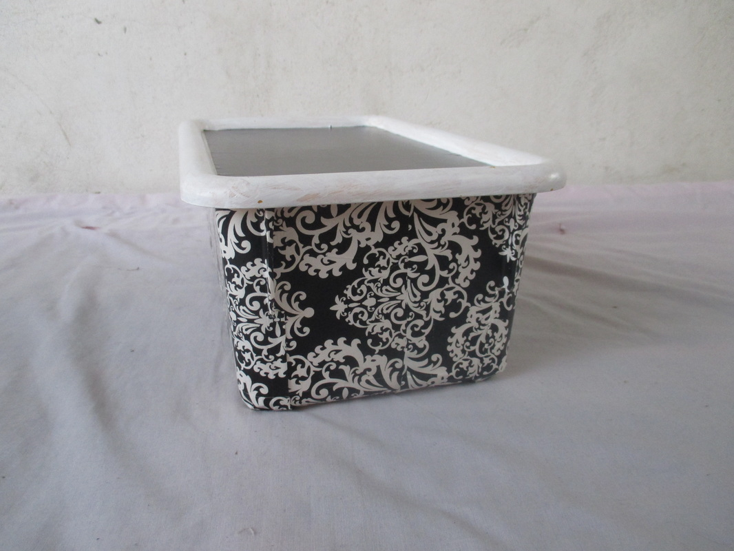 Mod podged plastic box,  From Color to black and white www.theboondocksblog.com