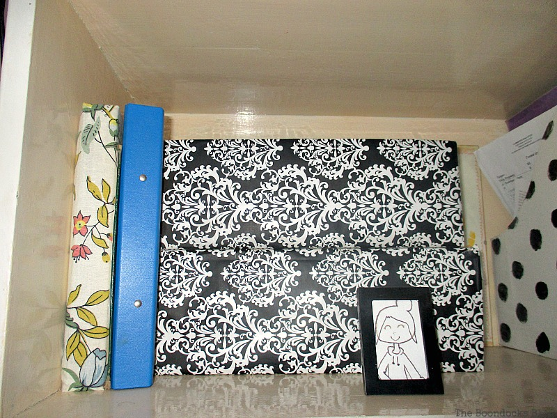 Boxes covered in Fabric Black and White Bookcase www.theboondocksblog.com