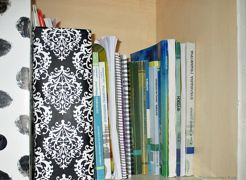Close up of magazine file, Black and White Bookcase www.theboondocksblog.com