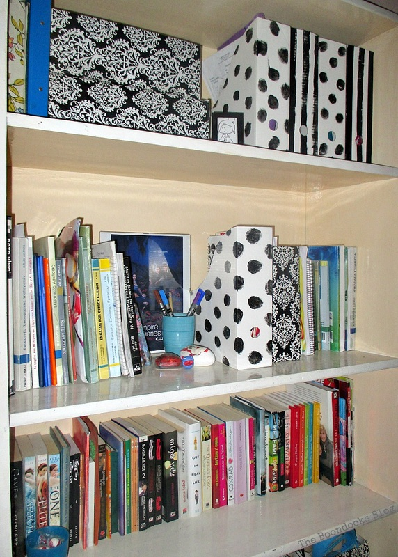 Boocase made over in B/W theme, Black and White Bookcase www.theboondocksblog.com