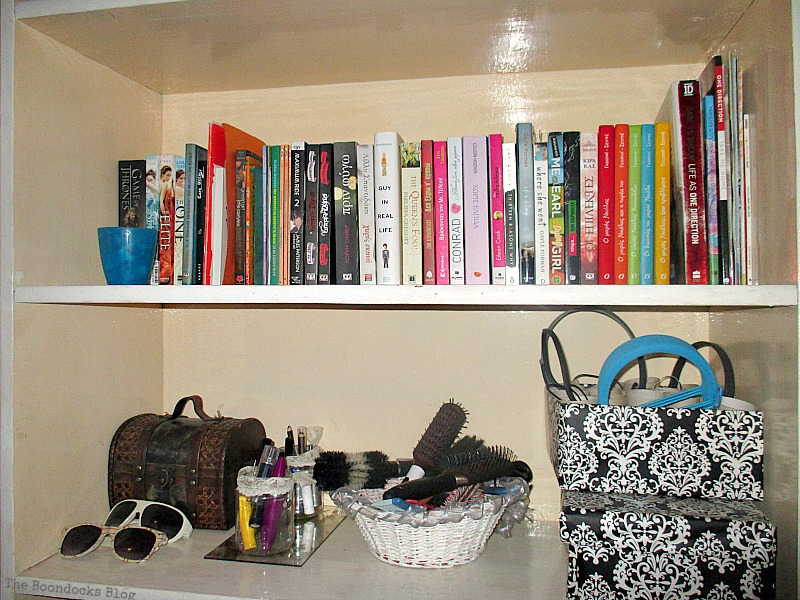 multi colored books, Black and White Bookcase www.theboondocksblog.com