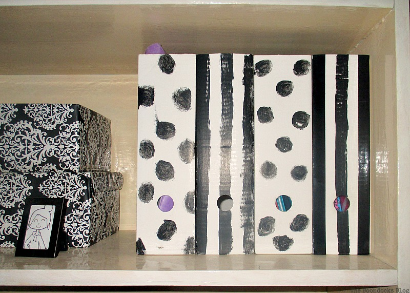 Magazine files painted with dots and stripes, Black and White Bookcase www.theboondocksblog.com