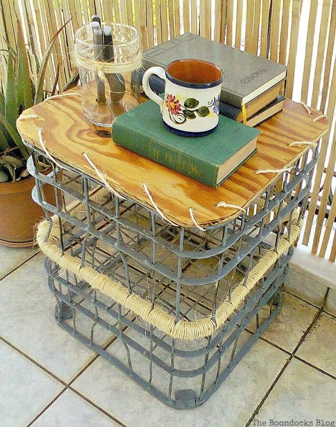 Crates as table, Metal Milk Storage Crates www.theboondocksblog.com