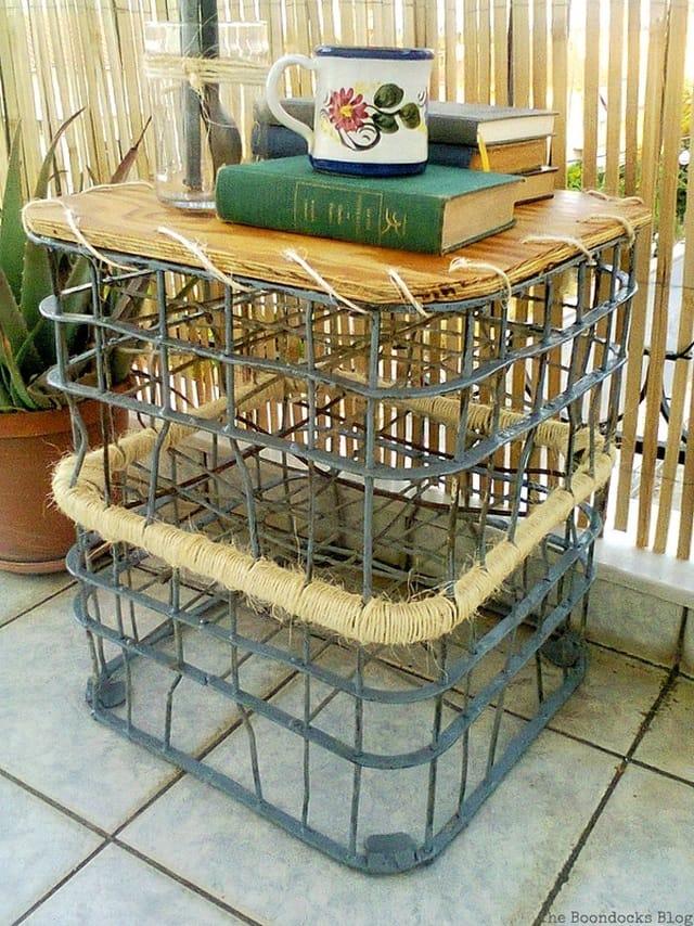 Completed outdoor table, Metal Milk Storage Crates www.theboondocksblog.com