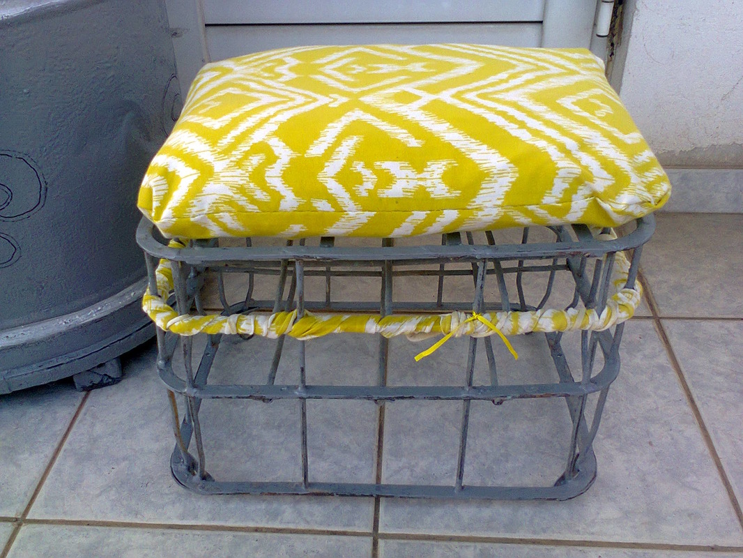 Moving the fabric scraps up, A Milk Crate turned Stool, www.theboondocksblog.com
