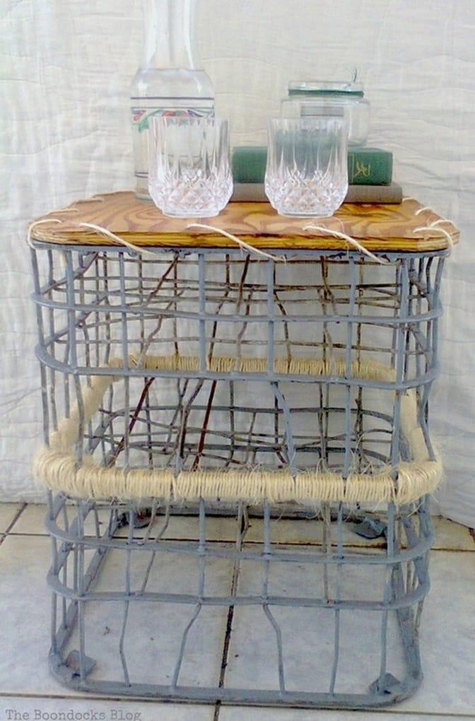 Repurposing milk crates to make an outdoor table, Metal Milk Storage Crates www.theboondocksblog.com
