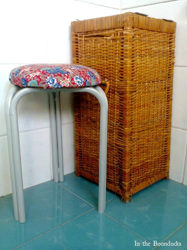 The waterproof stool with top repurposed from an umbrella fabric, The Red Waterproof Stool www.theboondocksblog.com