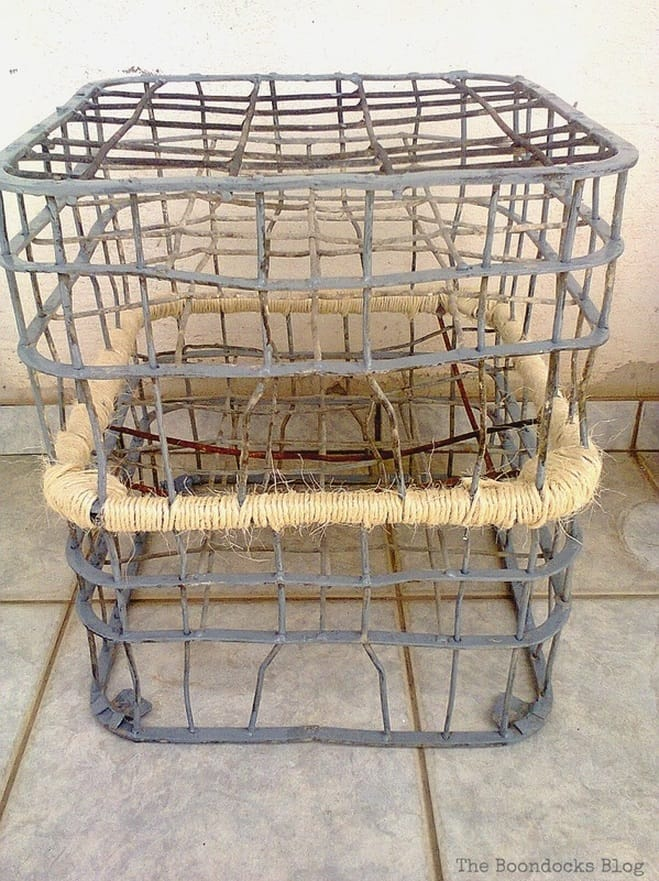 Twine wrapping completed, Metal Milk Storage Crates www.theboondocksblog.com