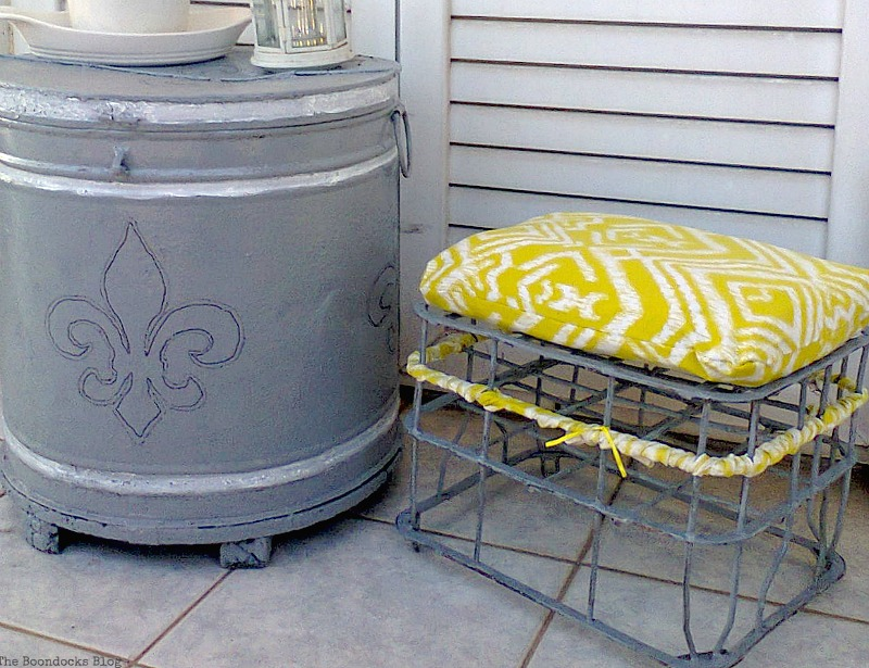Stool next to barrel, A Milk Crate turned Stool, www.theboondocksblog.com