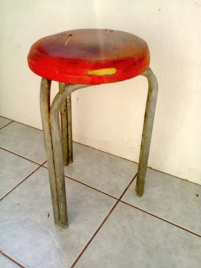 Before, The Red Waterproof Stool www.theboondocksblog.com