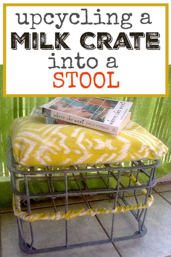 A vintage milk crate repurposed into a stool for outdoor use. #vintage #repurpose #metalmilkcrate #oldthings #easyupcycle #easyrepurpose #outdoorfurniture #theboondocksblog A milk crate repurposed into a stool, www.theboondocksblog.com