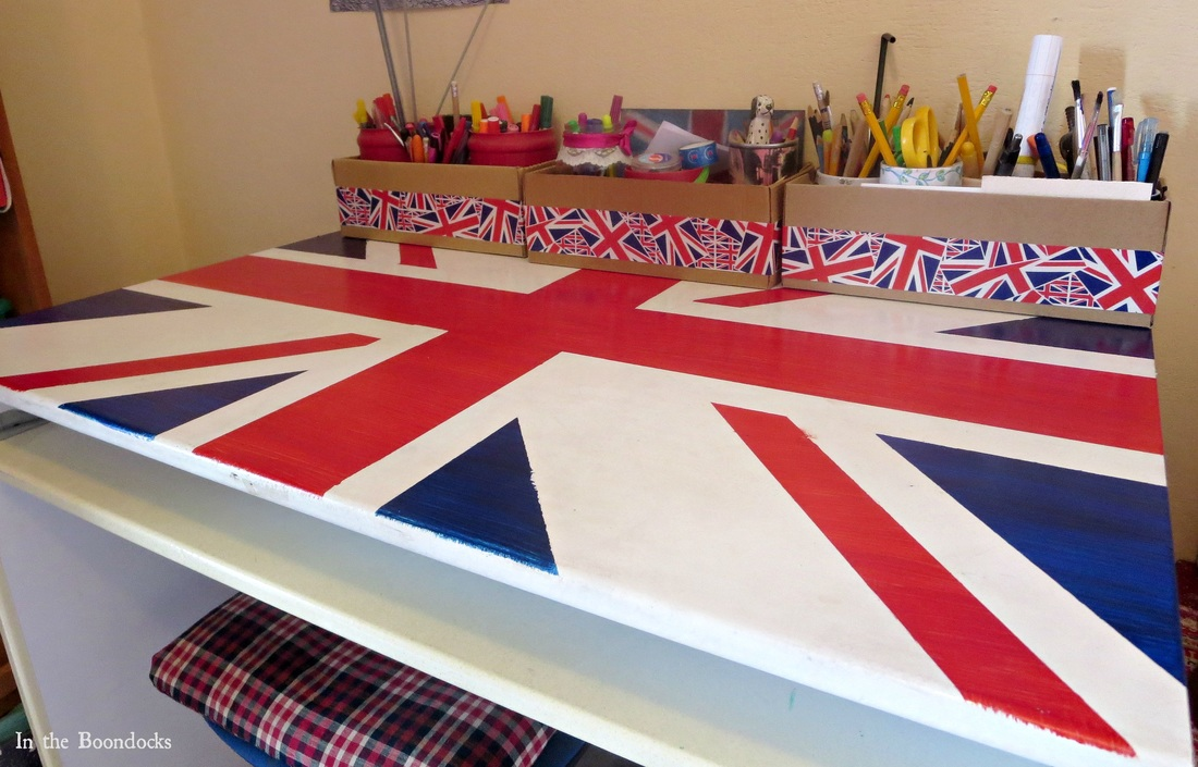 the top of the desk, Ikea desk upcycled with the british flag, The Anglophile Desk www.theboondocksblog.com