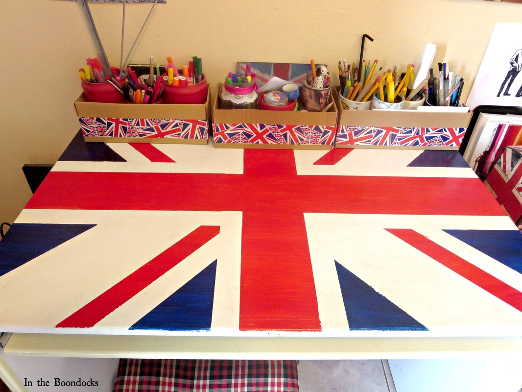 Ikea desk upcycled with the british flag and organizers on top, The Anglophile Desk www.theboondocksblog.com