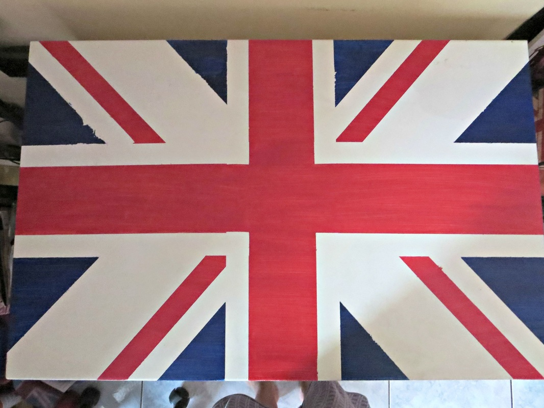Ikea desk painted with the british flag, The Anglophile Desk www.theboondocksblog.com
