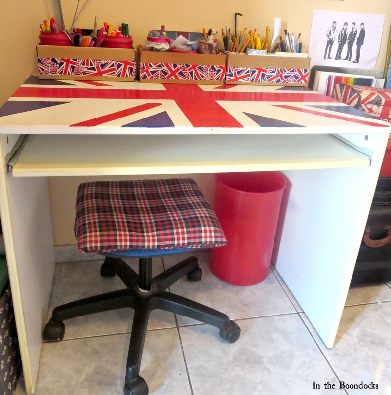full view of Ikea desk upcycled with the british flag, The Anglophile Desk www.theboondocksblog.com