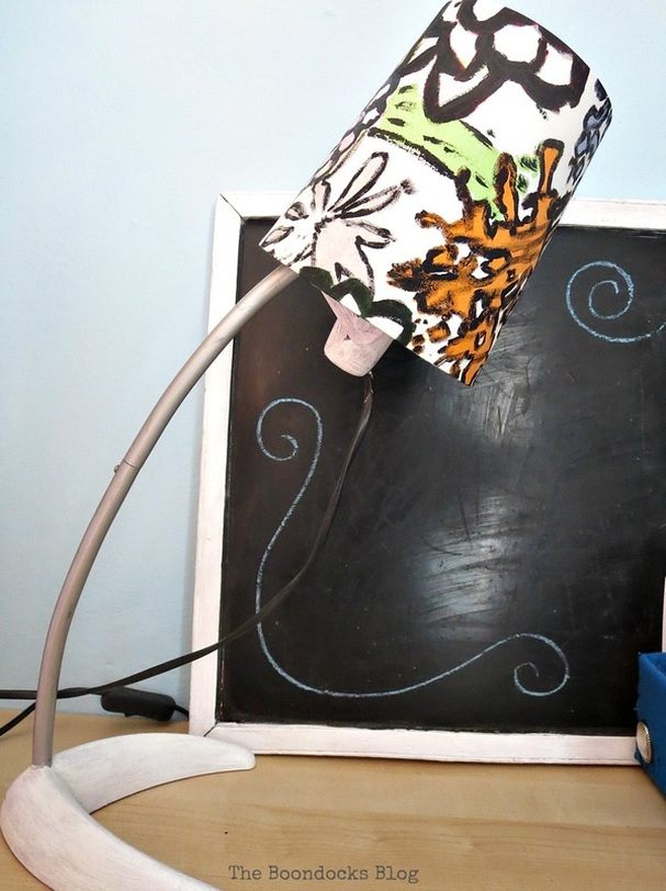 Upcycled lamp shade using paint The Frankenstein Desk Lamp www.theboondocksblog.com
