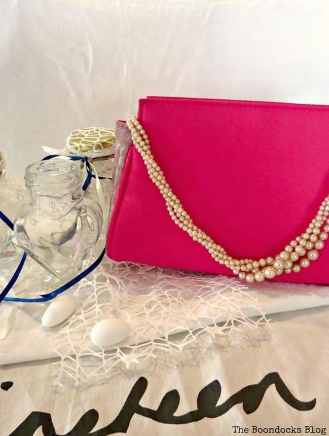A cosmetics bag repurposed into an evening bag, The Cinderella Bag www.theboondocksblog.com