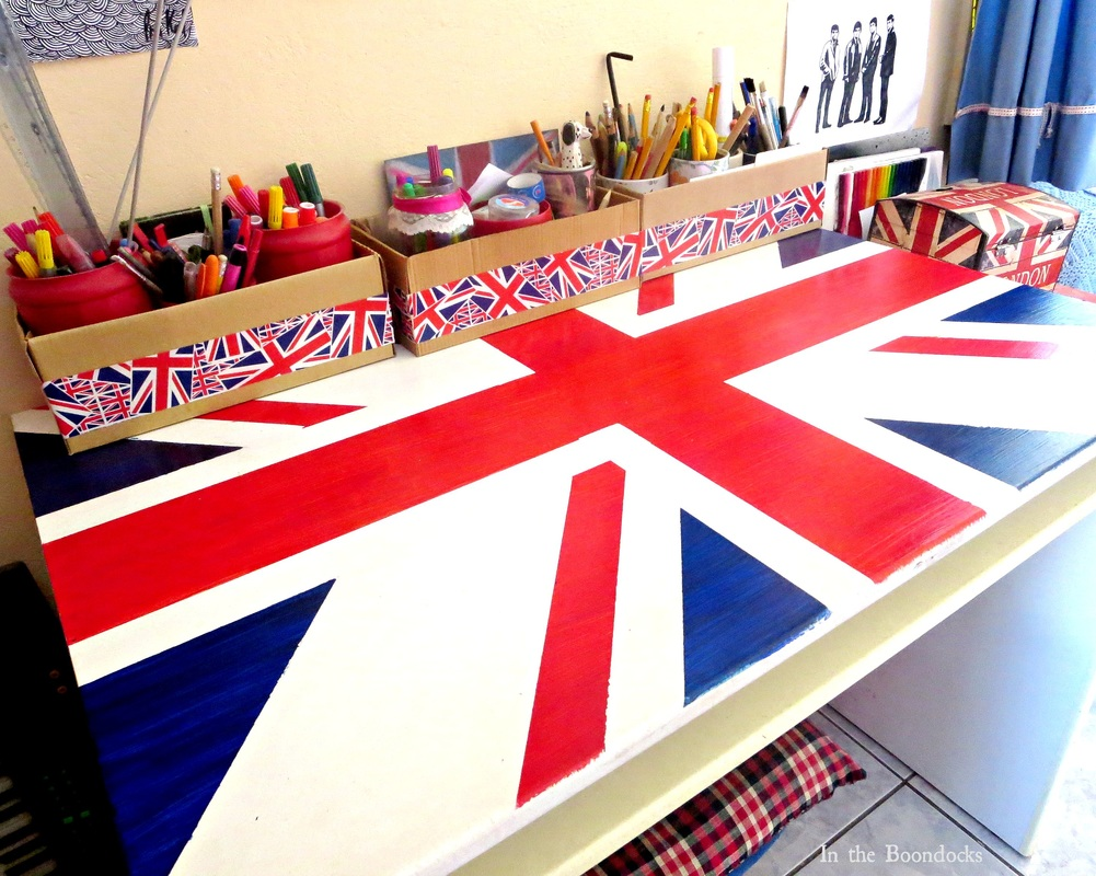top view of Ikea desk upcycled with the british flag, The Anglophile Desk www.theboondocksblog.com