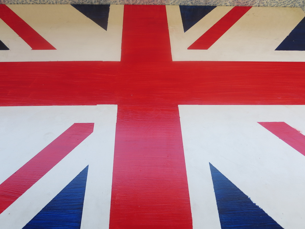 Ikea desk upcycled with varnish on top of the british flag, The Anglophile Desk www.theboondocksblog.com