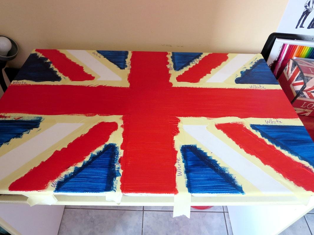 Ikea desk painted over the masking tape, The Anglophile Desk www.theboondocksblog.com
