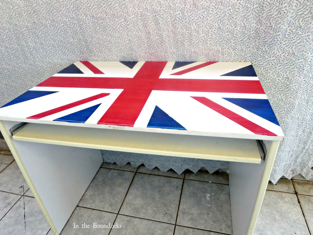 finished, Ikea desk upcycled with the british flag, The Anglophile Desk www.theboondocksblog.com