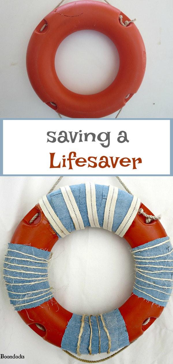 Repaired and decorated lifesaver, #upcycle #repurpose #lifesavermakeover #beachylook #coastaldecor #easylifesaverrepair Saving the life saver, www.theboondocksblog.com