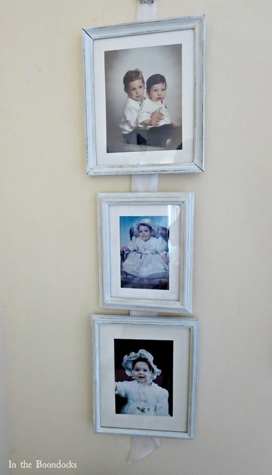 hanging pictures along the frame length, Banishing the Shine www.theboondocksblog.com