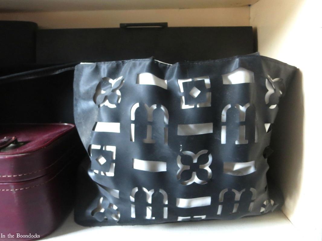 bag for hiding hair dryers, A Tour of the Blue Room www.theboondocksblog.com