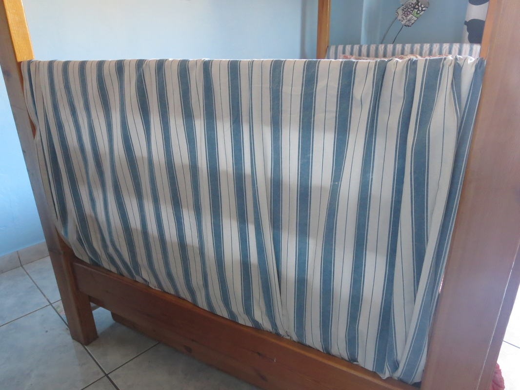 Blue striped fabric, The Blue Bunk Bed www.theboondocksblog.com