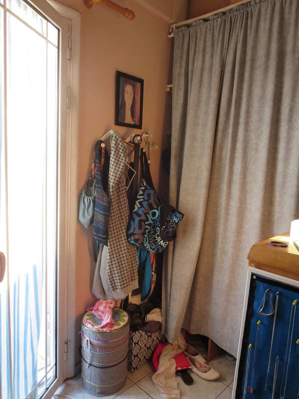before, Corner where accessories are hung, A Tour of the Blue Room www.theboondocksblog.com