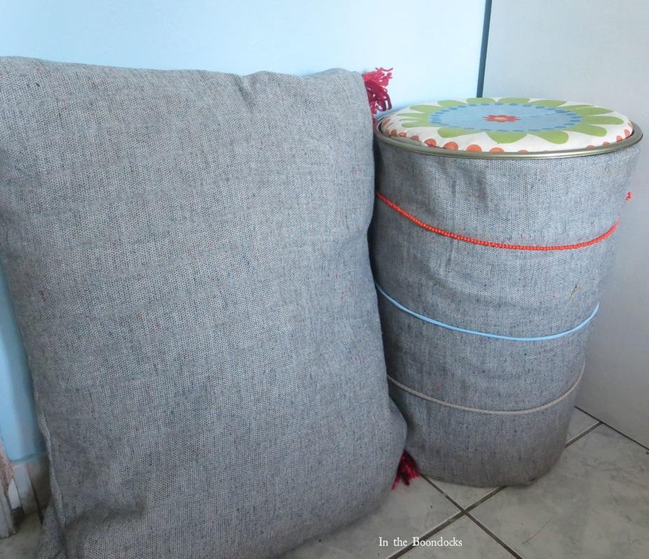 storage and matching pillow, Tweety's Storage Stool www.theboondocksblog.com