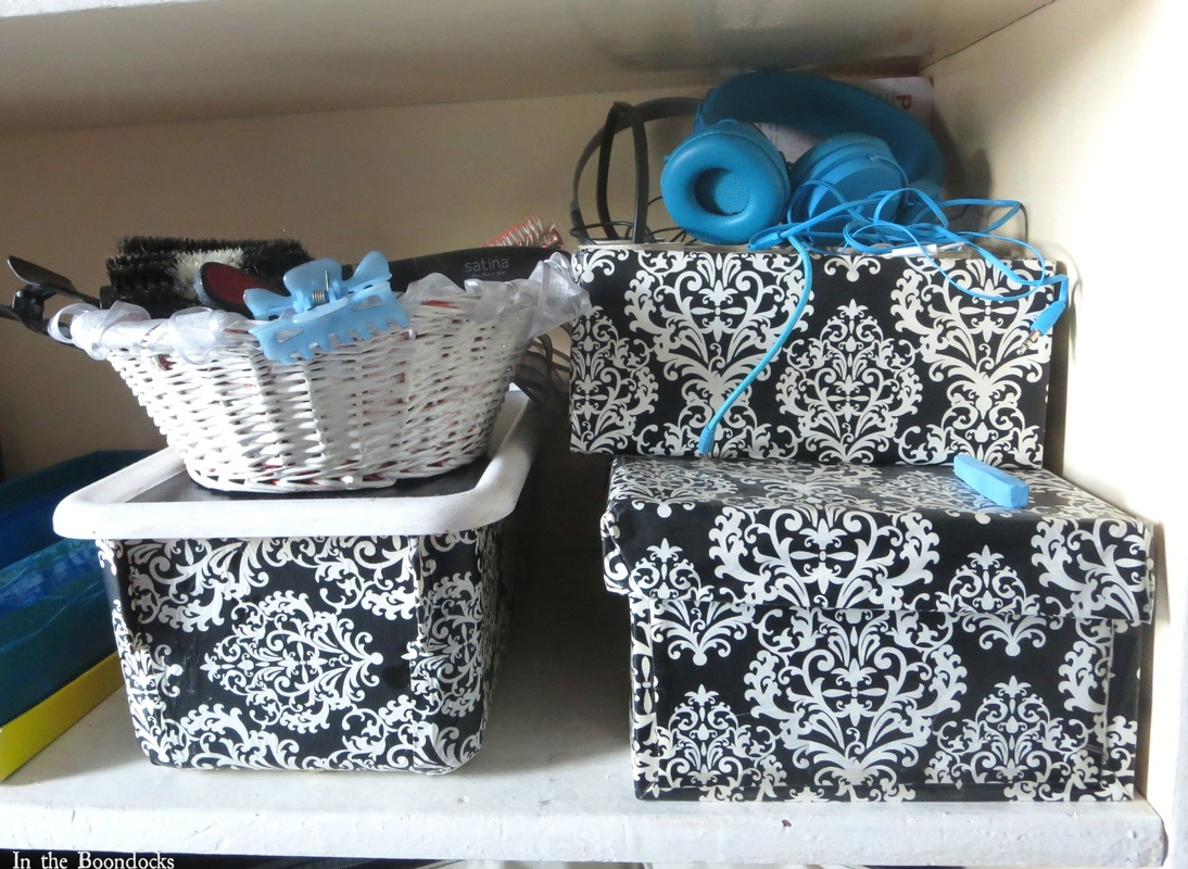 matching boxes for organization, A Tour of the Blue Room www.theboondocksblog.com