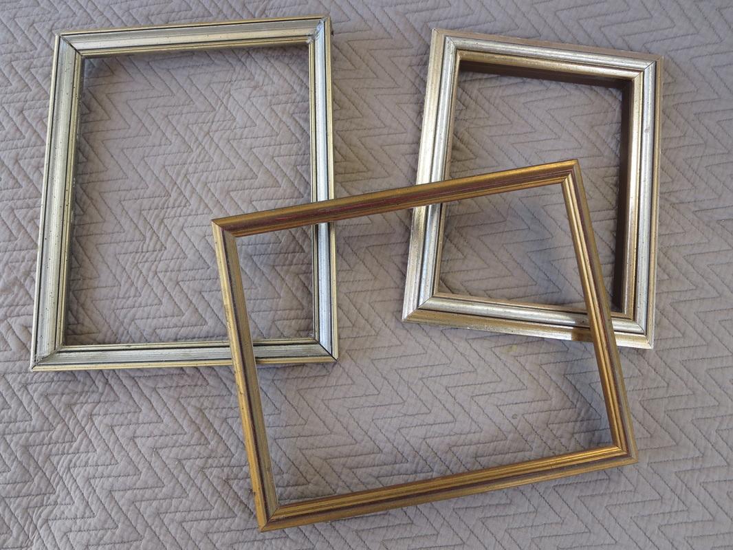 three  picture frames with metallic finish, Banishing the Shine www.theboondocksblog.com